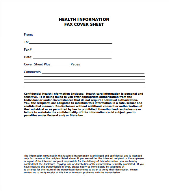 Health Information Fax Cover Letter Free