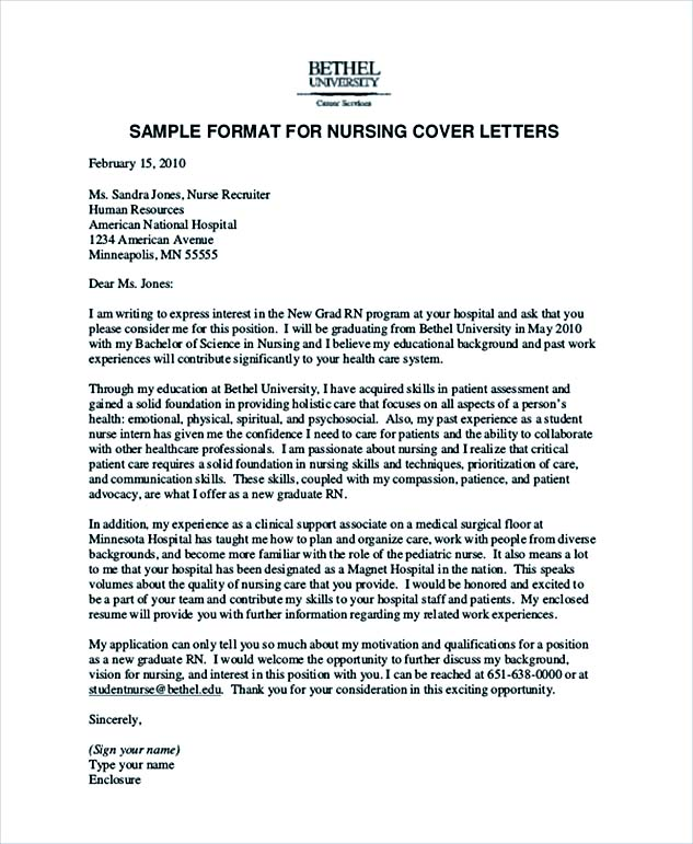 Hospital Nursing Cover Letter Example
