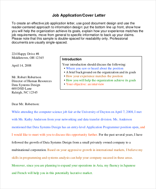 job application cover letter template - Application Cover Letters