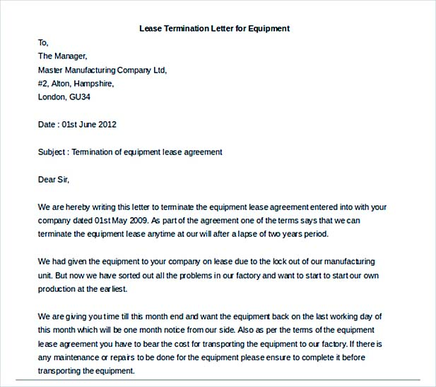 Lease Termination Letter For Equipment Template Example  Lease Termination Letter Template