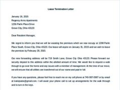 Lease Termination Letter to Residential Manager Example
