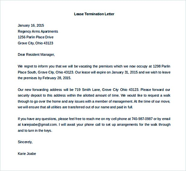 Lease proposal letter lease proposal template proposals commercial lease termination letter template spiritdancerdesigns Gallery