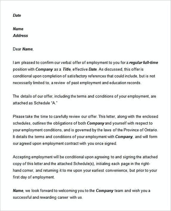 Letter of Employment Template Word