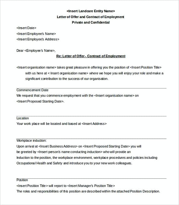 30 offer letter what to write in the document letter of offer and contract of employment template pronofoot35fo Image collections