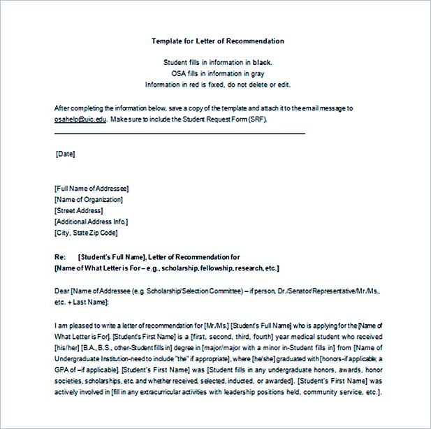 Letter Of Recommendation Template Word  Letter Of Recommendation