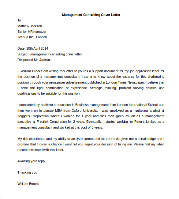 Management Consulting Cover Letter Template Free