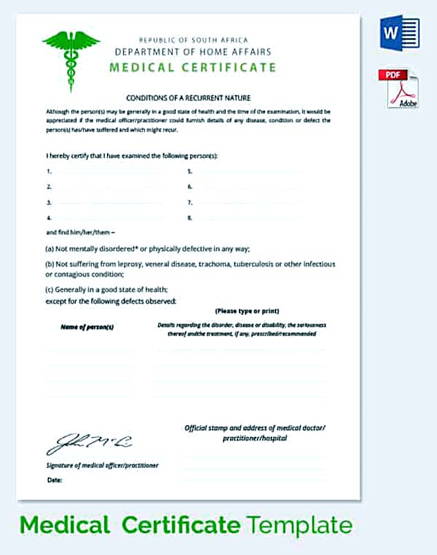 Medical Certificate Department of Home Affairs
