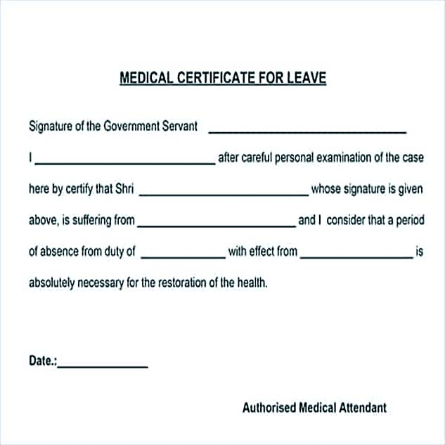 Medical Certificate For Leave