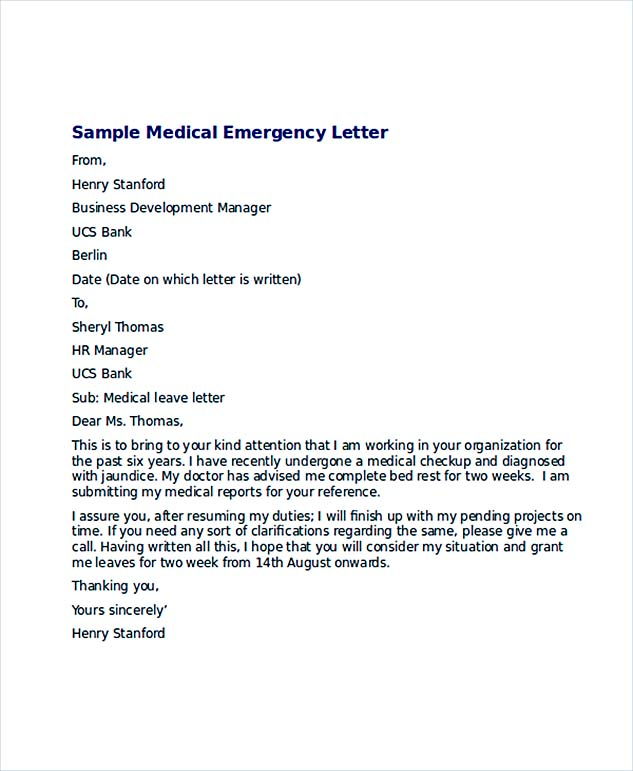 Medical Emergency Leave Letter