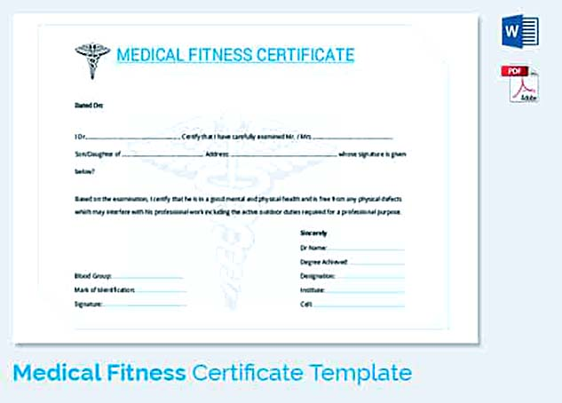 Medical Fitness Certificate Form Template