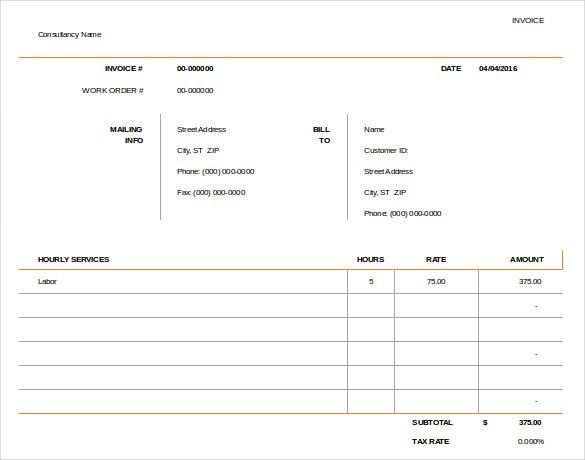 Sample Consulting Invoice  Sample Consulting Invoice