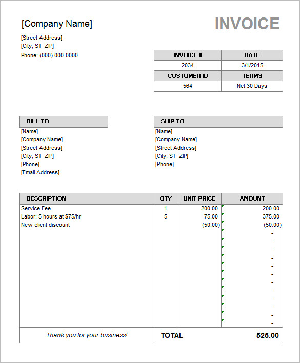 Microsoft Invoice Template Free Download Microsoft Invoice Template 205  Free Online Invoice Template Word
