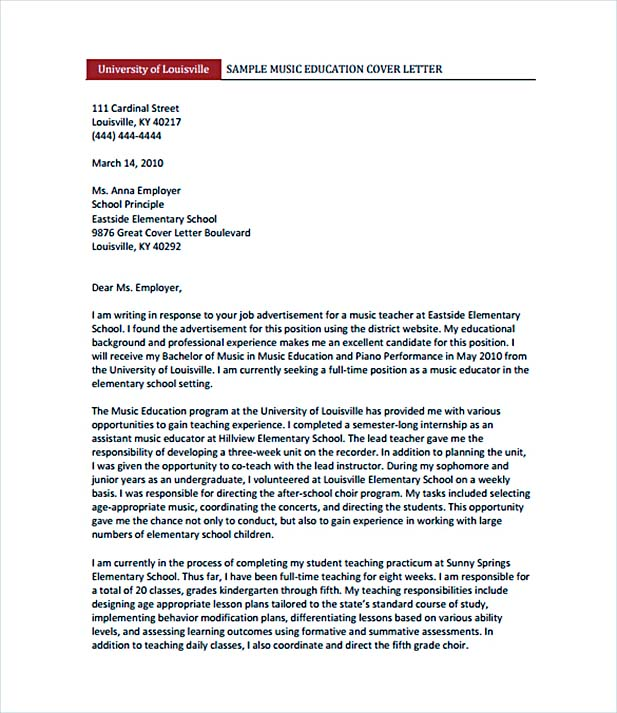 Cover Letter Teacher Example  CityEsporaCo