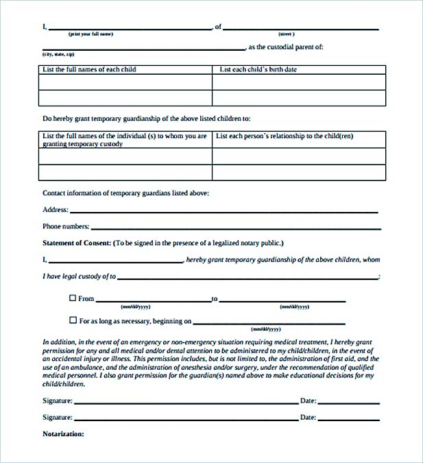 Notarized Letter for Child Custody PDF Printable