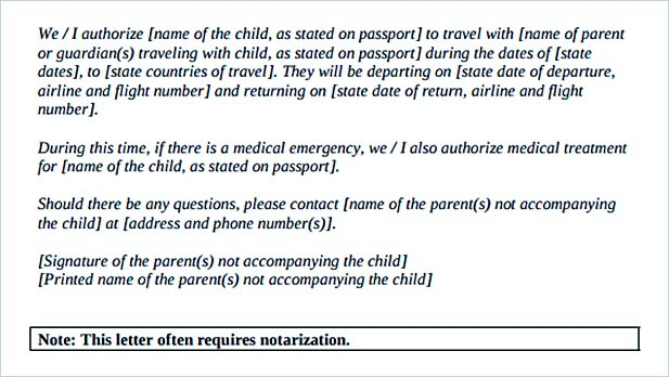 Notarized Letter for Child Travel with Parents PDF