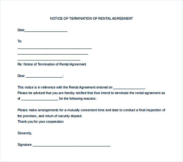 notice of termination of lease rental agreement template sample - Notice Of Lease Termination