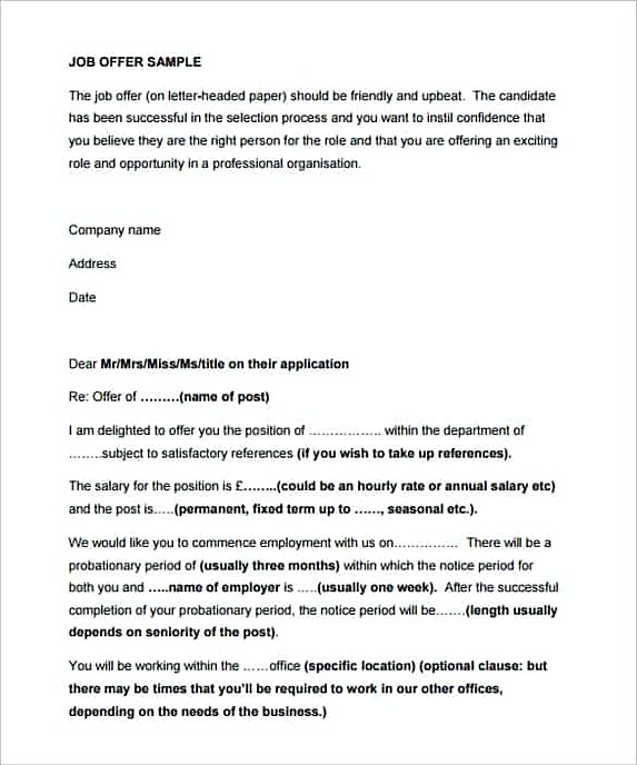 Offer Letter Template UK in