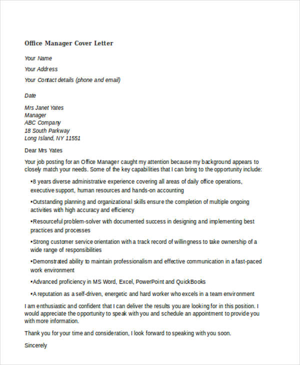 46 Generic Cover Letters for All Types of Jobs and What to – Office Manager Cover Letters