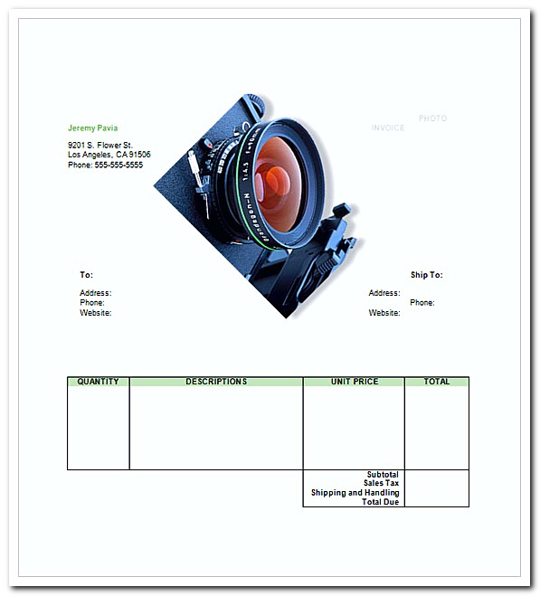 Photography Invoice. Sample Photography Invoice Template Word