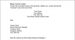 Printable Company Basic Cover Letter Template PDF