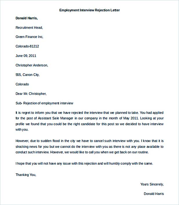 Printable Employment Interview Rejection Letter Template