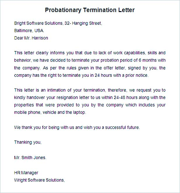 Probationary Termination Letter