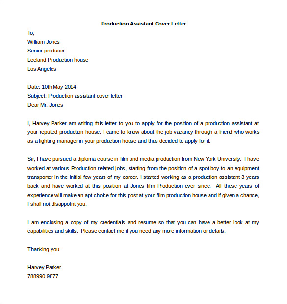 Production Assistant Cover Letter Template Free