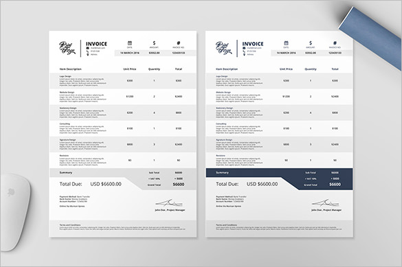 Professional Billing Invoice Template Example