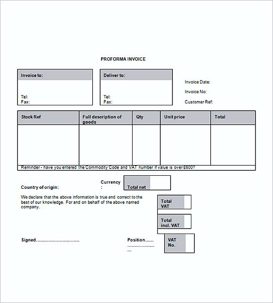 Proforma Business Invoice templates