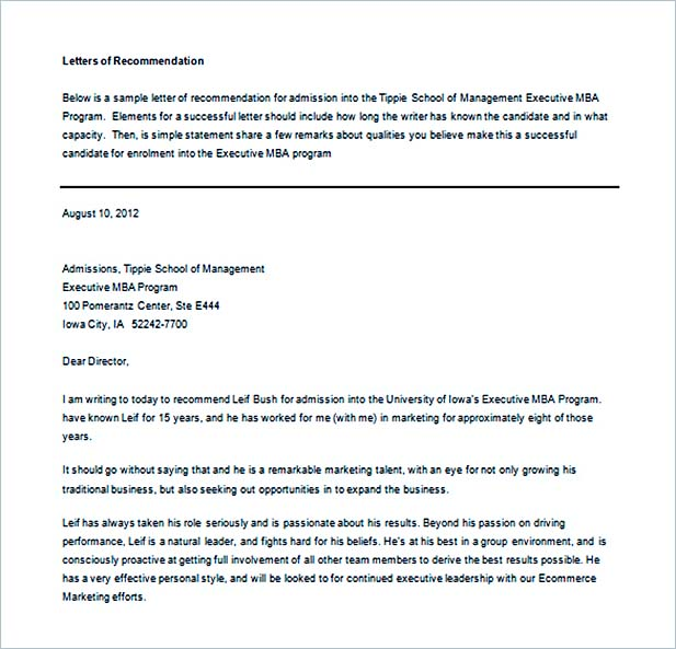 Recommendation Letter Example Word
