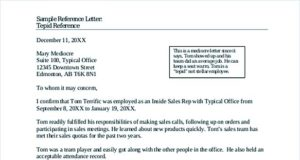 Reference Letter Template Free Sample Template
