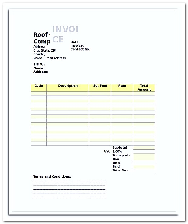 Roof Ceiling Invoice Template1