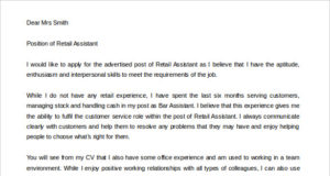 Sales Assistant Cover Letter Template Word Format