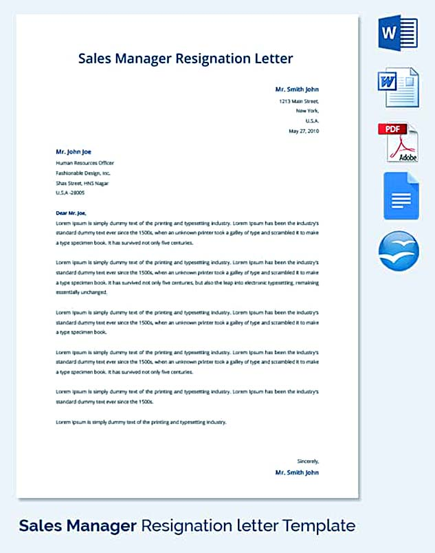 Sales-Manager-Resignation-Letter-Template Sample Acceptance Letter Template on confirmation job, business proposal, employment offer, for water, retirement plan, employer job, job interview, kindergarten school,