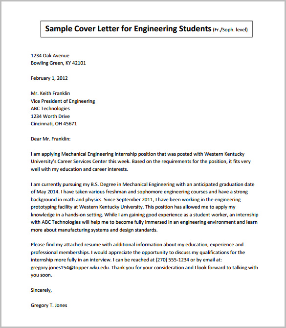 Sample Cover Letter for Engineering Students
