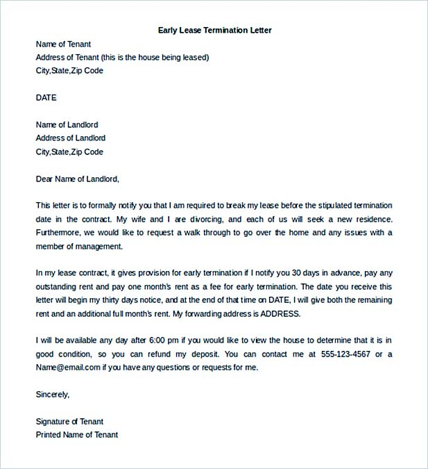 Lease Termination Letter Example Notice To Terminate Tenancy – Termination Letters