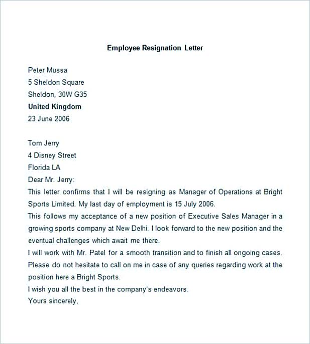 Sample Employee Resignation Letter  Professional Resignation Letter