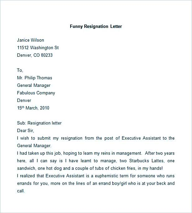Sample Employee Resignation Letter
