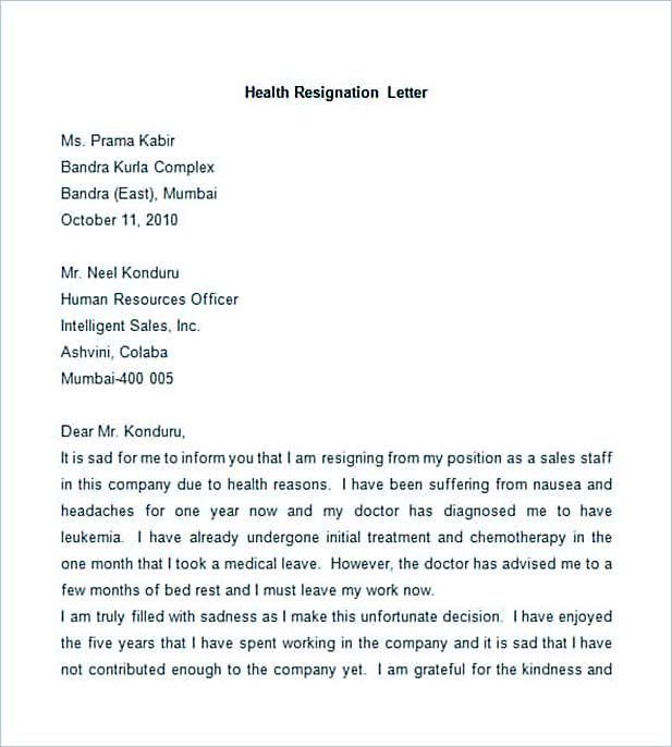 Best professional resignation letter format tips things to avoid sample health resignation letter spiritdancerdesigns Image collections