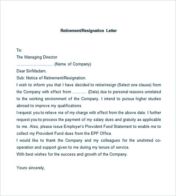 Sample Retirement Resignation Letter  Retirement Resignation Letter