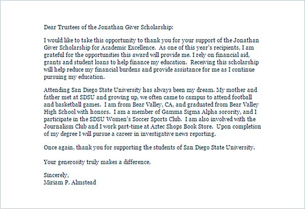 scholarship thank you letter for further gratitude