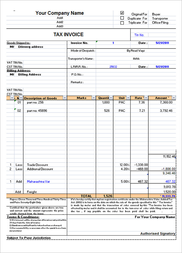 Sample Tax Invoice Template Excel Free Download