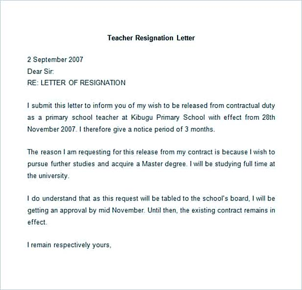 Sample Teacher Resignation Letter