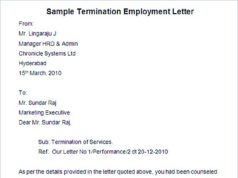 Sample Termination Employment Letter