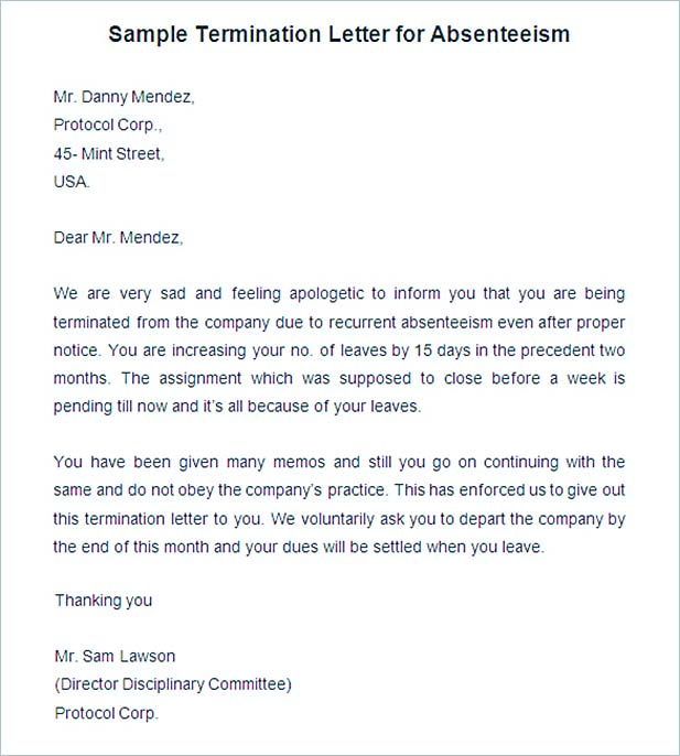 Sample Termination Letter for Absenteeism