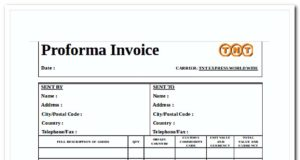 Simple Proforma Invoice Template Word