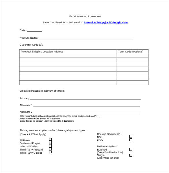 Standard Email Invoicing Agreement