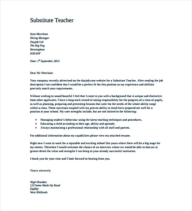 Substitute Teacher Cover Letter PDF Template Free Download  Cover Letter For Teaching Job