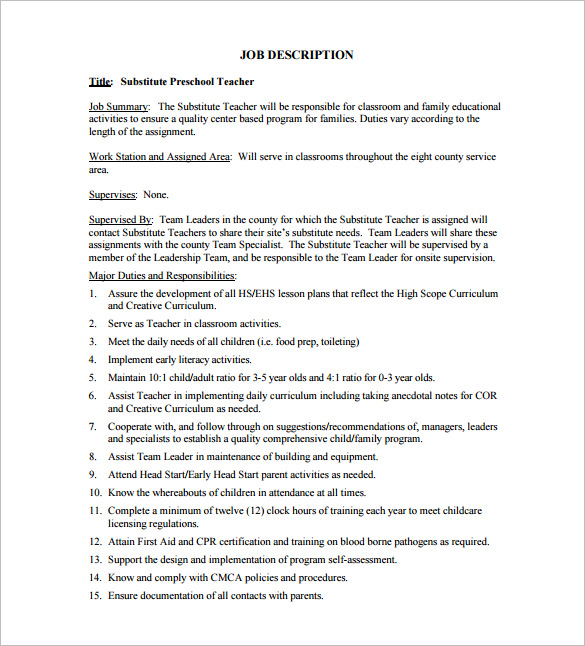 Substitute Teacher Job Description for Preschool Free Template