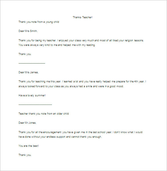 Write a Thank You Letter to a Teacher Word Doc